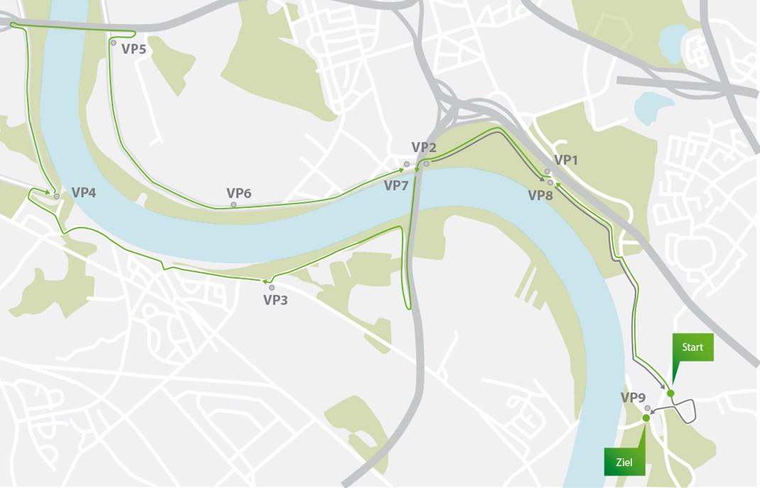 Streckenplan des Himmelgeister Brückenlaufs